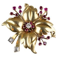 Lovely Retro 14K Rose Gold Flower Pin  Diamonds  Rubies  Top Quality