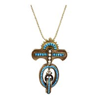 Exceptional Large Victorian 14K Turquoise & Pearl Pendant Brooch