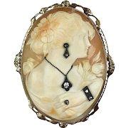 Very RARE 1930s 14K Gold Large Cameo Pin Pendant  4 Diamond Jewels - Pendant, Earring, Ring, Bracelet - A Real Treasure!!
