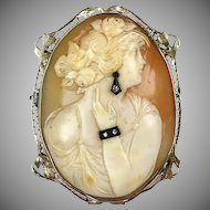 Really Pretty 1930s 14K Gold Large Cameo Pin Pendant  2 Diamond Jewels - Earring, Bracelet  RARE