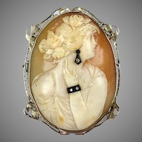 Really Special Art Deco 14K Gold Large Diamond Cameo Pin Pendant  RARE