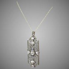 Edwardian 14K & Platinum Diamond Sapphire Pendant Pin