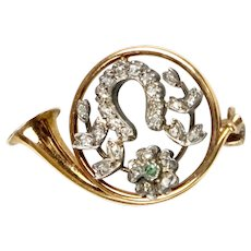 Victorian 14K Gold Fox Hunt Horn Pin Diamonds Emerald