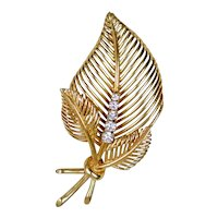 Retro 14K Rose Gold Diamond Leaves Pin Brooch