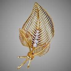 Retro 14K Rose Gold Diamond Leaves Pin Brooch