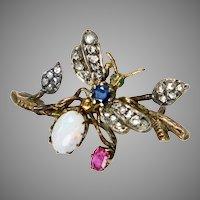Victorian 14K Gold Diamond Bug Fly Pin Brooch