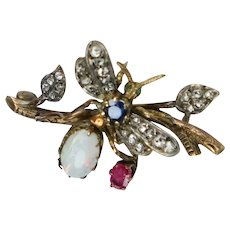 Rare Antique  14K Gold Diamond Bug Pin Brooch