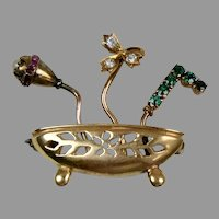 14K Rose Gold Bowl of Flowers Pin Brooch