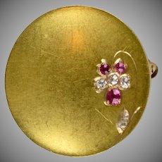 Art Nouveau 14K Gold Diamond Ruby Pin