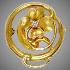 Art Nouveau 14K Gold Diamond 4-Leaf Clover Pin