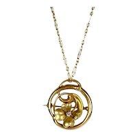 Charming Art Nouveau 14K Gold Diamond 4-Leaf Clover Pendant Pin