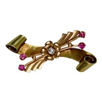 1940s 14K 2-Color Gold Diamond Ruby Bow Pin