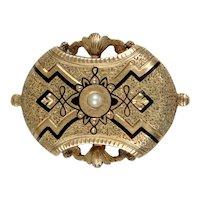 Lovely Antique Victorian 14K Gold Black Enamel Brooch Pendant