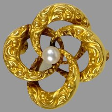 Victorian Small 14K Pearl Bow Brooch
