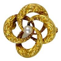 Victorian Small 14K Pearl Interlocking Rings Brooch