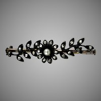 Lovely Victorian 18K Gold & Sterling Diamond Flower Bar Brooch