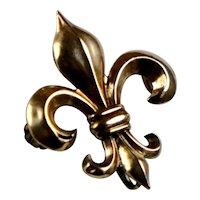 Art Nouveau 10K Gold Fleur de Lis Watch Pin