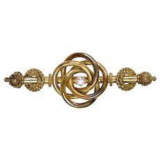 Victorian 14K Gold Diamond Bar Pin