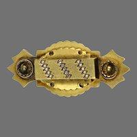 English Victorian 15K Gold Diamond Pearl Brooch