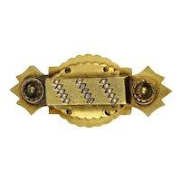 English Victorian 15K Gold Diamond Pearl Brooch Pendant