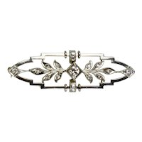 Edwardian 14K Gold Diamond Bar Pin