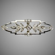 Edwardian 14K Gold Diamond Bar Pin