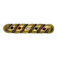Victorian 18K Gold Diamond Ruby Sapphire Bar Pin Pendant