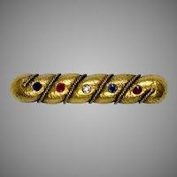 Victorian 18K Gold Diamond Ruby Sapphire Bar Pin