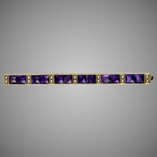 Art Deco 14K Gold Amethyst Pearl Bar Pin