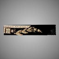 Victorian Large 14K Rose Gold Onyx Pearl Bar Pin