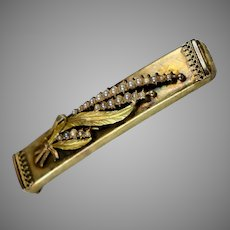 Victorian Large 14K Gold Floral Seed Pearl Bar Pin