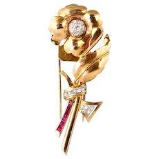 Retro Rose Gold Diamond Ruby Flower Pin Fur Clip