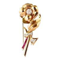 Lovely 1940s 18K Rose Gold Diamond Ruby Flower Pin Fur Clip