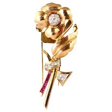 Lovely Retro 14K Rose Gold Diamond Ruby Pin Brooch Fur Clip   Flower with Depth  Top Quality