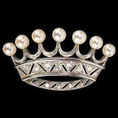 Stunning Vintage French Platinum Diamond Pearl Crown Pin Brooch  Regal Design - Red Tag Sale Item