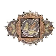 English Victorian 3-Color Silver & Gold Brooch