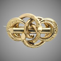 Exceptional Victorian Chased Love Knot Pin Brooch