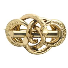 Exceptional Antique Victorian Love Knot Pin Brooch  Depth & Movement  Chasing