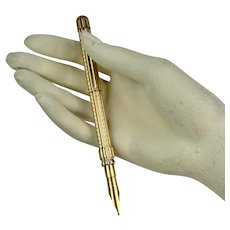 Antique Tiffany 19th C. Gold Telescopic Pen & Pencil Combo
