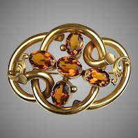 Large English Victorian Topaz Paste Love Knot Brooch  RARE