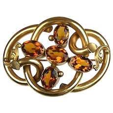 Huge Antique English Victorian Love Knot Brooch  Topaz Paste  Stunning  RARE