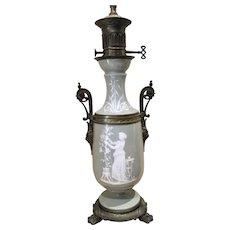 Elegant Antique Lamp Pate Sur Pate Celadon Green