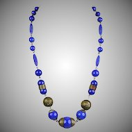 Art Deco Lapis Peking Glass Necklace  Brass Accents  Rich Color  RARE