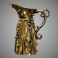 Vintage Large 14K Gold Etruscan Style Pitcher Charm