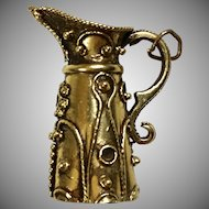 Vintage Large 14K Gold Etruscan Style Pitcher Charm   Lots of Detail   Top Quality