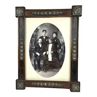 Large Antique Portuguese Wood Silver Picture Frame