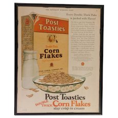 Custom Framed Vintage Ad  Post Toasties Corn Flakes  1925  In Color