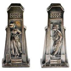 Pair Antique Bronze Dutch High Relief Man & Woman Match Safes Vases