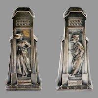 Pair Antique Bronze Dutch Man & Woman Match Safes Vases