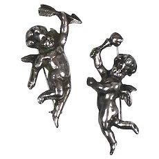 Pair Vintage Sterling Silver Cherub Putti Pins